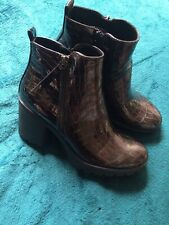 Dark Brown Patent Snake Effect Block Heel Ankle Boots Faux Leather Size 6 New