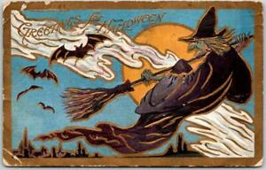 Vintage HALLOWEEN Embossed Postcard Witch Broom / Bats - 1908 CO Cancel