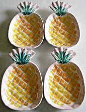 """TROPICAL Melamine Side Plates PINEAPPLES  4.5"""" X 7"""" X 1""""  Set of 4 Plates"""