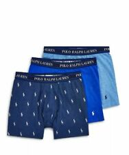 New	Polo Ralph Lauren Stretch Cotton Boxer Briefs - Pack of 3 Large Blue S0806