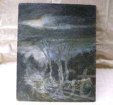 ~ old dark & moody night landscape on board ~ oil painting ~ goth