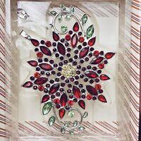 Hallmark Keepsake 2019 Sparkling Poinsettia Premium Ornament Gems Red NEW