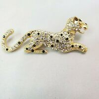 Vintage Monet Leopard Goldtone with Black & Clear Rhinestones Pin Brooch Jewelry
