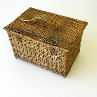Très ancien panier valise mallette en osier avec couvercle - Vélo porte bagage