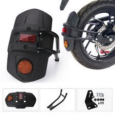 PP Plastic Rear Fender Mudguard + Reflector Warning Light Motorcycle Universal