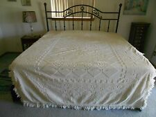 Vtg Off White Chenille Bedspread 1950's, Twin Size, 80x102, Floral Tree Pattern