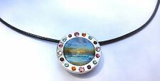 Necklace with Crystal Beach Sunset Ball Marker & Magnetic Heart Clip