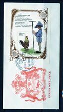 Guyana Cock- A- Doodle -Do Souvenir Sheet First Day Cover As Shown