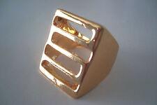 Gold Tone Horizontal Lines Geometric Style Statement Ring Size Q