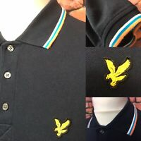 🦅 Small Mens Lyle & Scott Navy Polo T-Shirt | Indie Mod Ska Retro Vintage Style