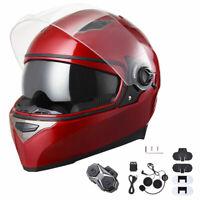 AHR DOT Full Face Motorcycle Motorbike Helmet Dual Visors Bluetooth Headset XL