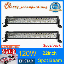 2X 22'' 120W Led Work Light Bar Offroad 4x4 Car Boat SPOT Lamp Save 240W 12V24V