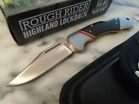 Rough Rider Highland Lockback Pocket Knife w Leather Sheath Micarta RR1654 New