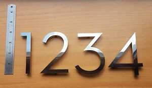"""4""""/10cm floating stylish house/door numbers mirror finish 3mm stainless steel"""