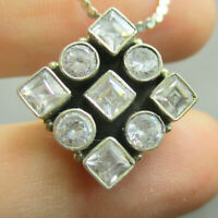 Vintage Estate Sterling Silver 925 Necklace with White Stones - Adjustable Chain