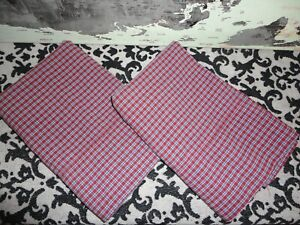 VINTAGE WESTPOINT RED & BLUE TATTERSAL PLAID (2) KING PILLOWCASES 19 X 38