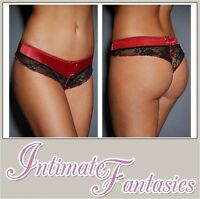 SEXY LINGERIE KNICKERS THONG UNDERWEAR SEXY RED SATIN BLACK LACE SIZE 8 10 12