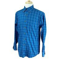 LL Bean Men's Traditional Fit Wrinkle Free 100% Cotton Blue Check Shirt Medium