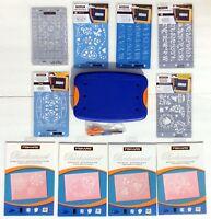 Fiskars Mini-ShapeBoss Embossing System Lot with 10 stencils! Everything NIP