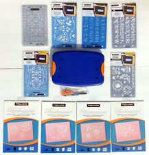 Fiskars Mini-ShapeBoss Embossing System Lot with 10 stencils! Everything NIP