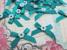 60 Satin Ribbon Bow Pearl Bead Flower Applique/Trim/Sew/Craft F24-Emerald Green