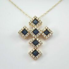 2Ct Princess Cut Blue Sapphire Halo Cross Pendant Necklace 14K Yellow Gold Over