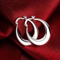 Elegant Round Womens 925 Stamped Sterling Silver Hoop Earrings