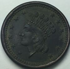 1863 Civil War Token 53/336 Indian Princess/Our Navy With Light Wear Some Red