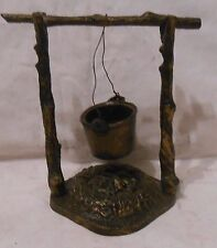 CAST IRON BLACK FINISH BUCKET MATCH HOLDER HANGING ON BRANCH OVER FIRE BASE 3 pc