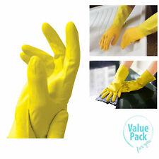 2 Pairs DLUX Yellow KITCHEN GLOVES Multi Purpose Rubber Latex Non-Slip size M UK