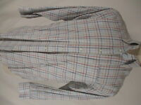 Peter Millar Mens White Check Long Sleeve Cotton Shirt M