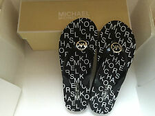 NEW! MICHAEL KORS MK SIGNATURE LOGO BLACK RUBBER SLIPPERS FLIP FLOP 6 36 SALE