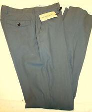 Burberry 100%  Cotton Flat Front Dark Slate Blue (Gray)  Pants NWT 35 Waist $295