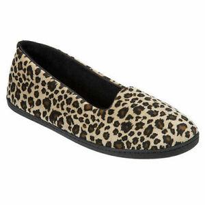 New Dearfoams Women's Velour Slipper Brown XL Leopard Cheetah House Shoes L 9-10