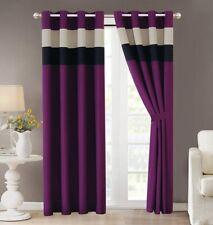 Regatta Dark Purple / Black / White Pin Tuck Curtain Set Drapes Window Panels