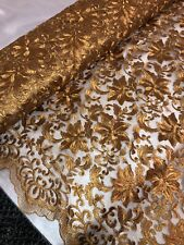 "1 mtr antique bronze embroidery scalloped bridal lace net fabric..52""wide (132cm"