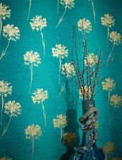Gold Teal Luxury Flower Wallpaper Floral Metallic Shiny Textured Vinyl Arthouse