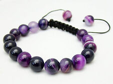 Men's Shambhala bracelet all 10mm Natural Purple Chalcedony Agate Gems Beads