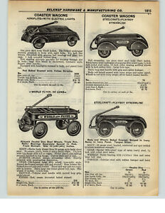 1937 PAPER AD Aeroflite Electric Head Lights Playboy Steelcraft Coaster Wagon