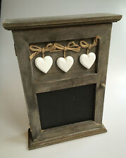 SHABBY WOODEN CHIC RUSTIC KEY RACK CUPBOARD WITH BLACKBOARD Cabinet Hearts