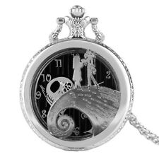 Silver Unique The Nightmare Before Christmas Necklace Women Pocket Watch Casual