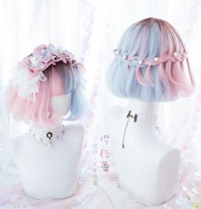 Kawaii Lolita Harajuku Blue Pink Gradient Wig Cosplay Dolly Short Bobo Hair