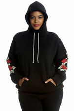 Ladies Plus Size Hoodie Womens Embroidery Floral Patch Warm Sweat Top Pocket Black 26-28