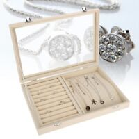 Ring Jewelry Display Large Lockable Box Necklace Earings Storage Case Organizer