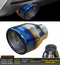 """UNIVERSAL BURNT TIP STAINLESS STEEL EXHAUST TAILPIPE 2.5"""" IN GW-ET030-S-VLV1"""