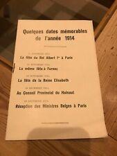 Quelques dates mémorables de l'année 1914