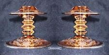 Heisey Glass Candlesticks Mars Pink Amber Elaborate Silver Overlay Cut Flower