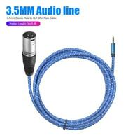 3m/9.8ft 3.5mm TRS Stereo Male to XLR 3Pin Male Braided  Audio Cable Wire Blue
