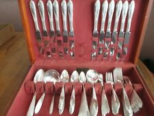 KING EDWARD SILVERPLATE 113 PC SET IN UNIQUE WOOD STORAGE BOX-NATIONAL SILVER