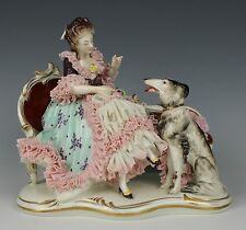 """Dresden Volkstedt figurine """"Sitting Lady with Borzoi"""" WorldWide"""